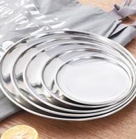 metal tabaklar toptan satış-5 Boyutu Paslanmaz Çelik Yemek Çanak Düz Plaka Mutfak Sofra Yemek Restoran Severing Tepsi Gıda Konteyner Tepsi KKA7099