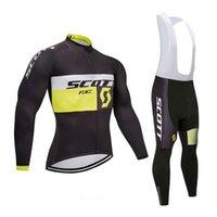 ingrosso bicicletta scott piena-SCOTT team Ciclismo maniche lunghe jersey pantaloni set completo Zipper Bike Abbigliamento sport all'aria aperta Mens comodi vestiti Q60953