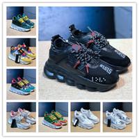 черные сетки кроссовки мужчины 13 оптовых-Роскошные дизайнерские туфли Цепной Реакции ulzzang Dad Black Повседневная обувь Белая Сетка Резиновая Кожа Плоские Мужчины Женщины Модакроссовки versace