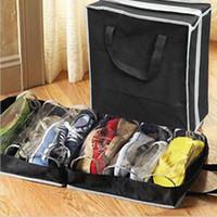 Wholesale organizers for shoes resale online - 6 Grid Dustproof Shoes Organizer PVC Folding Shoes Storage For Travel or home wardrobe storage bag organizador closet