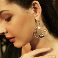 ingrosso grandi orecchini di perle reali-2019 New Fashion Big Circle rotonda orecchini a pendaglio per le donne Handmade reale orecchino di perla gioielli moda bijoux regali all'ingrosso