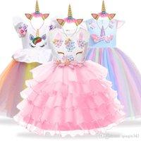 cinderella vestido branco crianças venda por atacado-Festa de unicórnio crianças vestidos para meninas elegante princesa dress crianças meninas traje cinderela snow white dress fantasia infantil