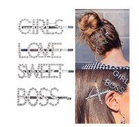 haarstift bling großhandel-Prickelnde Buchstaben Haarspange Wort Haarspangen Pins Crystal Bobby Pins Bling Handmade Luxus Strass Haarschmuck Kopfbedeckungen Accessoires Gold f