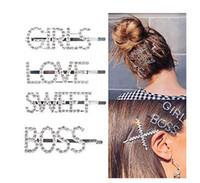 clips hechos a mano al por mayor-Sparkly Letter Hair Clip Word Barrettes Pins Crystal Bobby Pins Bling Handmade Luxury Rhinestones Joyas para el cabello Accesorios para el cabello Dorado f