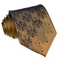 военно-морской галстук золотой галстук оптовых-K13 Ручной Твердые Цветочные Золото Коричневый Бронзовый Темно-Синий Мужские Галстуки Галстуки Hanky 100% Шелковый Жаккардовые Наборы для Галстуков Бесплатная Доставка Оптом