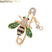 enamel animal brooches 2021 - New Design Cute Bee Brooches Pins Rhinestone Animal Shapes Crystal Green Enamel Brooch Pins For Women Men's Suit Collar Coat Bag Jewelry