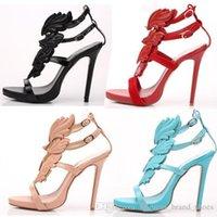 ingrosso tacchi romani sandali-2019 I nuovi stilisti sandali da donna foglie multicolor ali metallo diamante scavano le scarpe col tacco romano scarpe eleganti