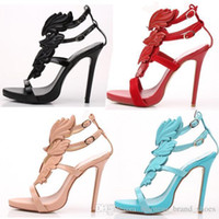 Wholesale red wing sandals resale online - 2019 The new fashion designer women sandals multicolor leaves wings metal diamond hollow out the Roman high heeled shoes dress shoes