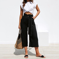 Wholesale polyester elastic straps for sale - Group buy Women s Trousers Street Solid Color Straps Wide Leg Spring and Summer Casual Exclusive Trousers Khaki S XL