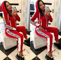 aktif eşofman toptan satış-Kadın Marka Tracksuits Moda Mektupları Baskı İki Adet Pantolon Aktif Bayan Sonbahar Sportwear Giyim Seti 2020 Yeni Toptan