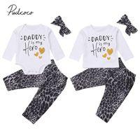 семейный набор подходящего снаряжения оптовых-2018  New Sister Brother Family Matching Set Baby Boy Girl Clothes 3PCS Letter Tops Romper+ Leopard Pants+Headband Outfits