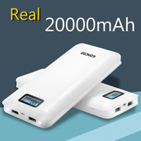 настольные лампы оптовых-KONCOO Real 20000mAh Power Bank большая емкость 2 USB-выход Внешняя батарея с фонариком Зарядное устройство для телефонов и планшетов