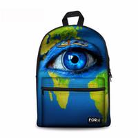 büyük resim baskısı toptan satış-Noisydesigns Büyük gözler Genç öğrenciler için 3D Baskı Omuz Sırt Çantası çocuk hediyeler çanta Özelleştirmek görüntü Çocuk Schoolbag