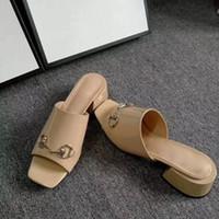 pembe açık topuklu ayakkabılar toptan satış-Yüksek topuklu kadın terlik deri terlik tasarımcı açık parmaklı pembe klasik kadın açık terlik