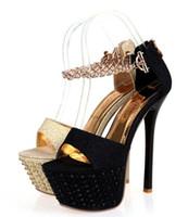 plataforma ultra sexy al por mayor-NUEVO 16 CM Ultra Thin Sandalias de tacón alto Plataforma Moda Vestido de mujer Zapatillas Sexy Zapatos de noche para mujer Calzado 34-39 YN