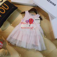 fotos rosa do bebê venda por atacado-Novos vestidos de verão crianças marca roupas meninas vestido de bebê menina roupas crianças vestido rosa dos desenhos animados fotos meninas saia roupas boutique PF-30