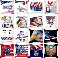 Wholesale pillow usa resale online - 45 cm American Independence Day Pillow Case Sofa Pillow Cover USA Flag Printted Home Decor Cushion Cover HHA602