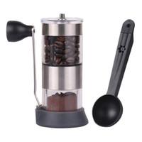 handschleifer für gewürze großhandel-Mini Tragbare Manuelle Handkurbel Kaffeebohne Spice Hand Mühle Küche Werkzeug Mit Löffel Kaffeewerkzeuge