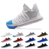 yüksek kaliteli kd ayakkabı toptan satış-Yüksek Kaliteli Yakınlaştırma KD 10 Erkek Basketbol Ayakkabı Gerçek BHM kutlama Tüm 1 Yıldız Çoklu renk Igloo Oreo Tasarımcı Eğitmenler Spor Spor ayakkabılar Be
