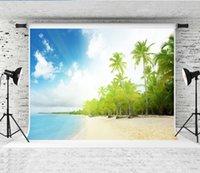 rüya gören deniz toptan satış-Rüya 7x5ft Karayip Denizi Plaj Fotoğraf Backdrop Palmiye Ağacı Seaside Arka Plan Fotoğrafçı Çocuklar için Ateş Mavi Gökyüzü Zemin Stüdyo