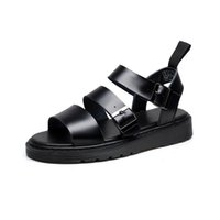 Wholesale summer flats for women resale online - Genuine Leather Women Sandals Gladiator Summer Shoes Platform Black Flat Woman Casual Shoes Beach Sandals For Woman Shoe