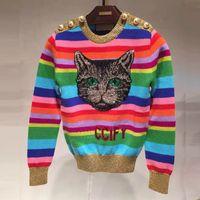 jersey de mujer de china al por mayor-419 2019 marca del mismo estilo suéter de lentejuelas suéter de manga larga cuello redondo Animal Print Women Pullover SH