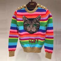 ingrosso donne di stampa animale-419 2019 marca stesso stile maglione paillettes pullover manica lunga girocollo stampa animalier pullover donna SH