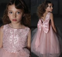 Wholesale satin tulle flower girl dresses for sale - Pink Hot Sale Girl s Pageant Dresses Embroidery Satin Ruffles Kids Girls Formal Occasion Princess Flower Girl Dresses With Big Bow Sash