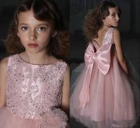 marcos del desfile para la venta al por mayor-Pink Hot Sale Girl's Pageant Vestidos Bordado Satén Ruffles Niños Chicas Ocasiones formales Princesa Vestidos de niña con gran lazo