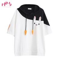 Wholesale anime kimono for sale - Japanese Harajuku Female Lovely Pink Rabbit T Shirts Cute Carrot Short Sleeve Anime Bunny Tee Tops Mori Girl Kawaii T shirt Q190523