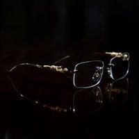 marco floral gafas de sol mujeres al por mayor-marcos ópticos de diseño de lujo del oro del leopardo del diseñador gafas de cuerno de búfalo mujeres lentes chico gafas de sol gafas de lente transparente sin marco