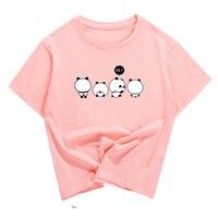 Wholesale panda clothes summer resale online - Women s Summer Tops Print Tshirt Funny Tees Kawaii Panda Pink Shirts Female Cotton Clothes s s Students