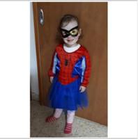 roupa da liga venda por atacado-Garota-Aranha Cosplay fantasiar-se crianças Roupa Costumes de Spider Venom super-herói Criança Halloween Dance Show Vestidos Liga da Justiça