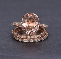 ingrosso anelli di diamanti dell'oro di rosa dell'annata-Anello di diamanti da donna vintage anelli tondo Morganite 18 K oro rosa riempito festa nuziale anello di fidanzamento Halo anello da sposa set di gioielli misura 5-11