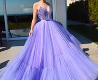 Wholesale formal sequin beaded tops resale online - 2019 light purple A line floor length prom dresses sexy spaghetti straps lace beaded top ruffles tulle skirt formal celebrity evening gowns