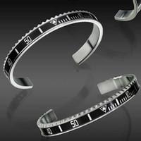 relógios de pulso venda por atacado-Estilo de Moda de luxo Relógios Escala C Cuff Bangle Pulseira de Aço Inoxidável Mens Partido Jóias Designer Digital Pulseiras Bangle para Mulheres Homens