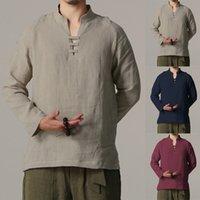 chinesische langarm bluse großhandel-Chinese Art-Männer Shirts Langarm Slim Fit Shirts mit V-Ausschnitt Bluse Baumwolle Leinen Tops Camisa Masculina 5XL Großhandel Plus Size 2019