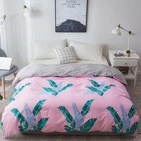 roupas de cama rosa e verde venda por atacado-1 Pcs 100% Algodão Lençóis Nordic roupas de cama Primavera Temporada de verão rosa verde Folha Capa de Edredão gêmeo completo rainha King Size Bedding