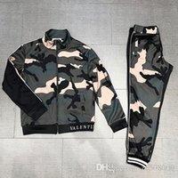 homem ocasional do jérsei do exército venda por atacado-Casual Jacket + Calças Sportswear costura Sportswear Homens Verdes do Exército dos homens Set camisola Jacket Set frete grátis
