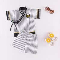 полосатые шорты верхний набор оптовых-Perimedes Bbay Boys Japanese Winter Outfits Costumes Infant Baby Boys Striped Kimono Tops+Shorts Outfits Set Japanese clothes