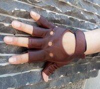 guantes de cuero al por mayor-100% cuero de cabra envío de la gota 2017 al aire libre medio dedo conducción guantes de las mujeres 1 unids guantes sin dedos de cuero para el ciclismo # 309395