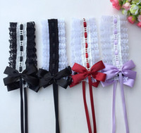 Wholesale maid accessories resale online - Carnival Party cosplay Anime Waitress Maid Handmade Lolita Bows KC Headband Ribbon Lace Headdress Sweet Headwear clips Costume Accessories
