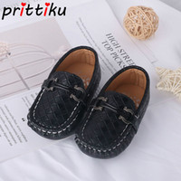 коричневая обувь оптовых-2018 Baby Toddler Boy Girl PU Leather Loafers Little Kid Fashion  Casual Flats Children Black Blue Brown Formal Dress Shoes
