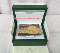 Wholesale watch box leather luxury resale online - Luxury Topselling Perpetual Watch Green Original Box Papers Card Purse Boxes Handbag For Sea Dweller Watches