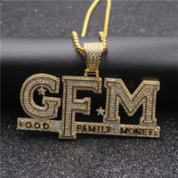Wholesale money rope online – custom Hip Hop Iced Out Letter God Family Money Pendant Necklace Gold Silver Plated Mens Bling Jewelry Gift