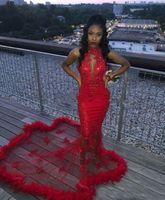 forro rosa uk al por mayor-Rojo africano 2K19 sirena vestidos de fiesta de plumas con lentejuelas sexy sirena vestido de noche Conde tren ver a través de vestidos de fiesta de cóctel sin respaldo