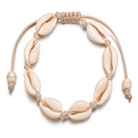 handgemachte fußkettchen frauen großhandel-Kauri Perlen Shell Fußkettchen Armband handgefertigt Strand Fußschmuck Hawaiian Jamaican Style einstellbar für Frauen Unisex