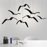 Wholesale shop bird for sale - Group buy Nordic LED Chandelier Lighting Resin Seagulls Birds Silhouette Pendant Lamps Kitchen Fixtures Hanging Lamps Coffee Shop Suspension Light
