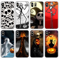 Wholesale skull iphone cell case online – custom For Iphone Pro Xs Max Xr Halloween Skull Pumpkin Phone Case X Plus Transparent Luxury Soft Cell Phone Cases