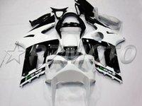 kit de cuerpo blanco kawasaki zx6r al por mayor-Kit de carenado de motocicleta ABS nuevo molde de inyección completo caliente para 2004 2004 Kawasaki Ninja 636 ZX6R carenado de motocicleta cuerpo personalizado gratis negro blanco